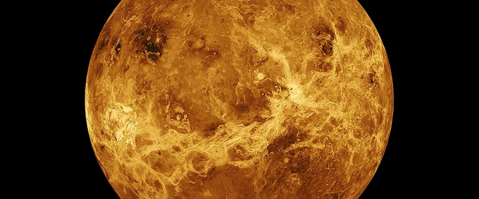 Computer simulated view of the planet Venus, by NASA/JPL.