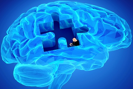 Illustration concept of the human brain and addiction featuring a distressed person crouched inside a puzzle-piece-shaped section within a human brain.
