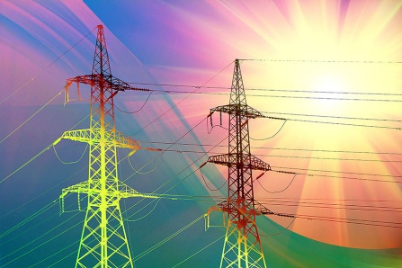 Concept of electric transmission towers and the effect of global warming.