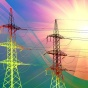Photo illustration of electric transmission towers and the effect of global warming.