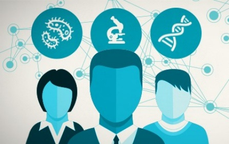 Graphic of three people with DNA, microbes and a microscope above their heads.