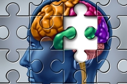 Puzzle of brain with one piece missing.