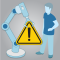 illustration depicting man and robotic arm holding a caution sign