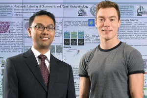 Pinaki Sarder, assistant professor Department of Pathology and Anatomical Sciences (left) and lead author Brendon Lutnick, doctoral candidate at the Jacobs School of Medicine and Biomedical Sciences.
