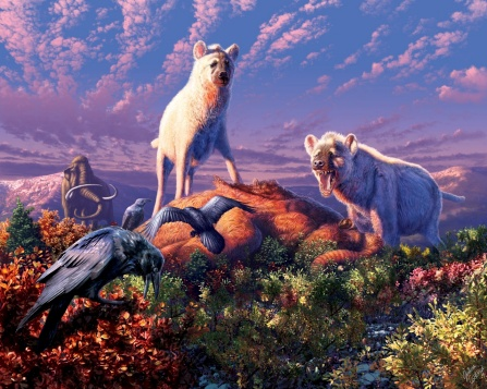Artist's rendering of two hyenas with white coats in an Arctic environment under a partially cloudy sky.