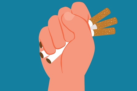 Conceptual illustration of smoking cessation: cigarettes being crushed in someone's fist.