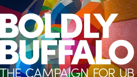 "Image showing the words ""Boldly Buffalo: The Campaign for UB"" with a color background."