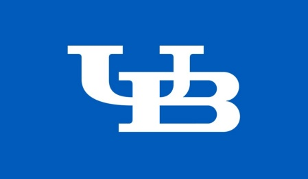 Graphic of the white interlocking UB logo on blue background.