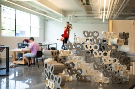 Facade prototype was created as part of the 2018 Architectural Ceramic Assemblies Workshop hosted by UB in Parker Hall. Photo: Douglas Levere.