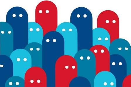 Concept of democracy: multiple simple figures with eyes in shades of red and blue.