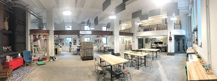 Panoramic view of a maker space inside the Children's Museum of Pittsburgh.