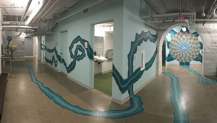 Panoramic view of new wayfinding that doubles as art in the Children's Museum of Pittsburgh.