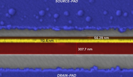 This image shows a close-up view of a gallium oxide transistor created with an electron beam lithography (EBL) system. The gate (the yellow line) is about 100 nanometers wide — a typical sheet of paper is 100,000 nanometers thick. This is an example of the extremely tiny structures that can be fabricated with EBL systems.