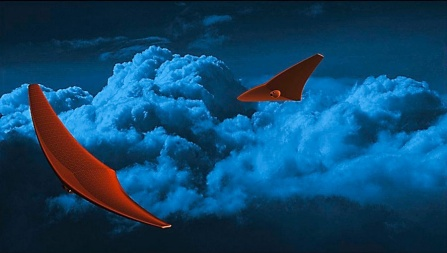 A rendering of two stingray-like BREEZE spacecraft exploring the atmosphere of Venus, which is depicted by dark blue clouds.