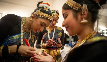 Indian students prepare for UB's annual International Fiesta, a talent competition among UB's international student clubs.