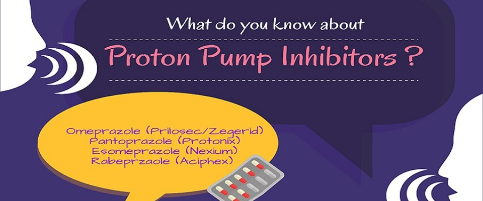 "Detail of an informational poster featuring word bubbles and two heads in profile ""talking."" One word bubble reads, ""What do you know about Proton Pump Inhibitors?"" and the other lists common PPI medications."