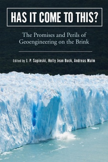 "Book cover with the words, ""Has It Come to This?"" in large white font across the top and an image of a calving glacier on the bottom."