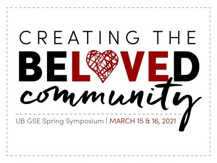 "Graphic stating ""Creating the Beloved Community"" with the ""o"" stylized as a heart."