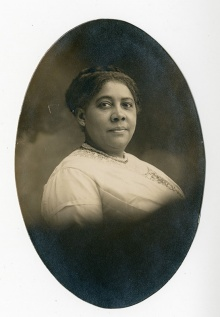An oval, black-and-white portrait showing Mary Talbert.