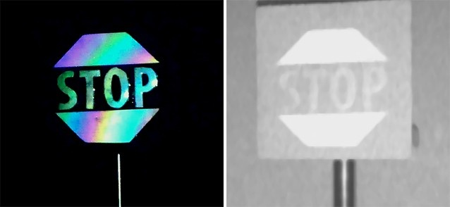 colorful and b/w versions of stop sign