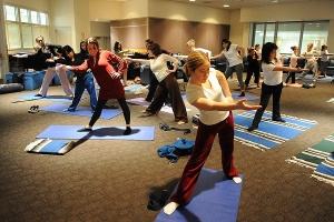 Yoga class in student union