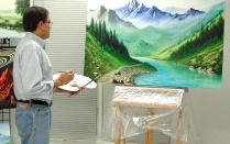 Nallan Suresh at the easel.