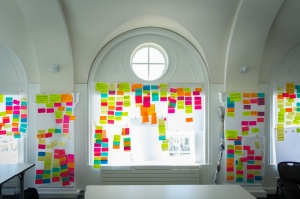 A colorful collection of Post-it notes reflects the ideas UB students brainstormed.