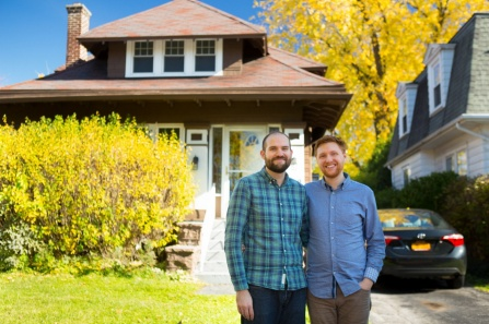 David Youhess and Blake Cooper in front of their new home on Niagara Falls Blvd.
