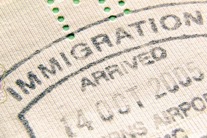 Immigration stamp.