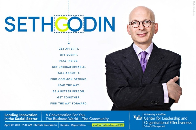 ad for cloe conference featuring image of Seth Godin