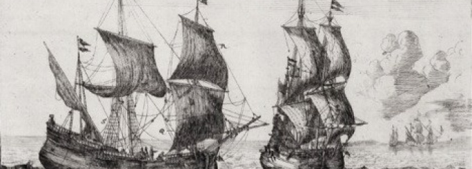 image taken from Folger Institute symposium poster -- two 19th century sailing ships