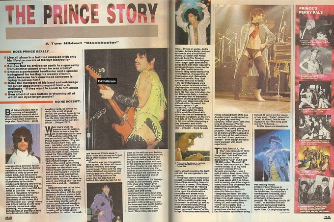 1986 Prince article that appeared in Smash Hits magazine.