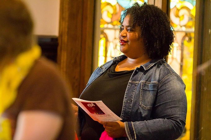 Danielle Johnson participates in an interfaith service commemorating the Pulse Nightclub victims