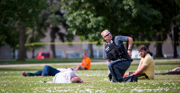 During the emergency drill, a first responder tends to a victim of the incident.