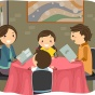 Illustration of a mom, dad, son and daughter dining out in a restaurant