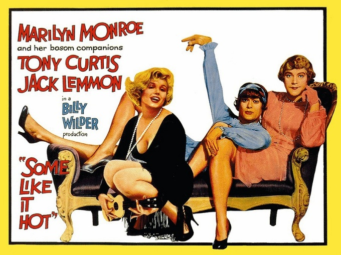 "Movie poster for ""Some Like it Hot,"" 1959, directed by Billy Wilder"