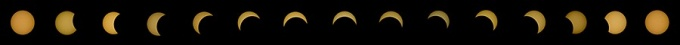 Progression of the eclipse photographed by Chao Guo