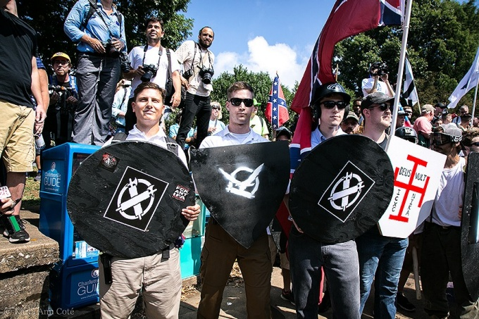 White nationalists demonstrate in Charlottesville, Virginia, on Aug. 11.