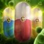 illustration of three capsule-shaped antibiotics that combine to kill a once-invincible superbug