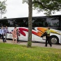 The School of Management MBA students load into buses on North Campus for the Buffalo Impact Tour.