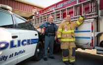 Officer Dale Hohl (left) and Lieutenant Kevin Will (right) portrait at Getzville Frie Company on Dodge Rd. in Amherst, NY.