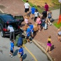 New students, aided by UB community volunteers, move into the dorms during UB's Welcome Weekend
