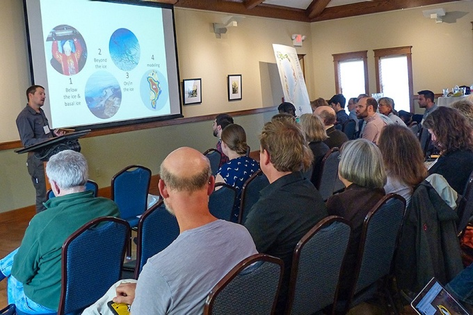 "Jason Briner addresses climate scientists from around the world during the NSF workshop, ""How Stable is the Greenland Ice Sheet?"""