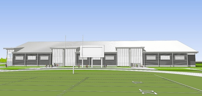 back view of fieldhouse