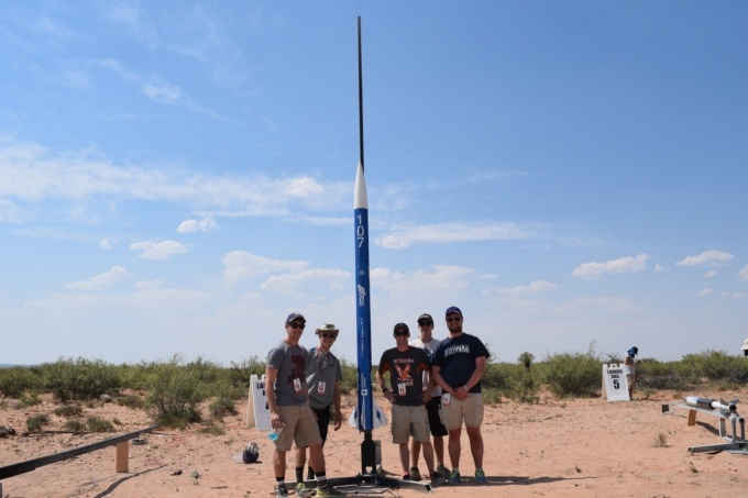 The UB SEDS team takes a group photo after putting the rocket on the launch rail and just before they inserted the igniter in the rocket and left the launch site. From left are: August Bartoszewicz, Owen Langrehr, Peter Wilkins, Sayre Stowell and Jonathan Przybyla.