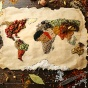 Map of the world made up of spices indigenous to each continent.