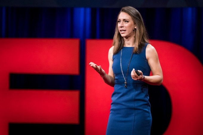 New UB faculty member Kristin Poinar giving a TED Talk in September.