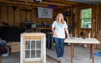 Jackie Hausler in her garage workshop.