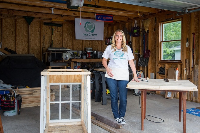 Jackie Hausler in her garage workshop