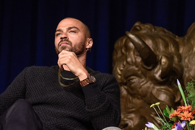 Jesse Williams, on stage during his Distinguished Speakers Series lecture.